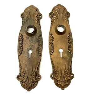 Antique-Art-Nouveau-Door-Knob-Backplates-Deco-Heavy-Brass-Bronze-Hardware-Vtg