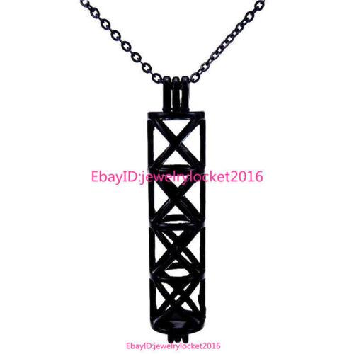 H196 noir long rectangle Perles Pearl Akoya Oyster Cage Médaillon Collier Pendentif