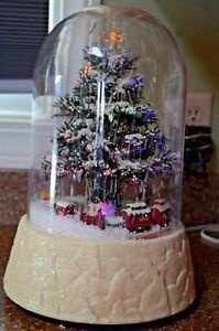 Details About 14 Lighted Fiber Optic Christmas Tree Revolving Train Table Top Snow Dome