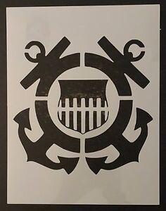 Stencil Coast Guard 9 border size 8 image size