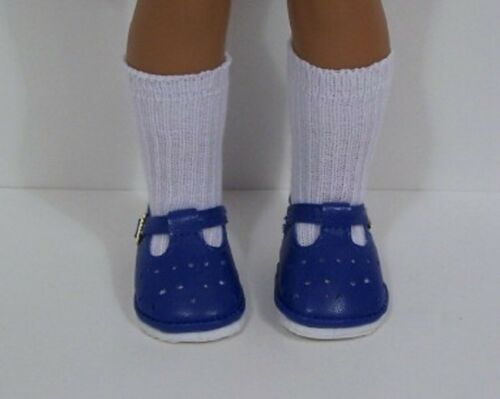 DK BLUE T-Strap Doll Shoes For 14 American Girl Wellie Wisher Wishers (Debs)