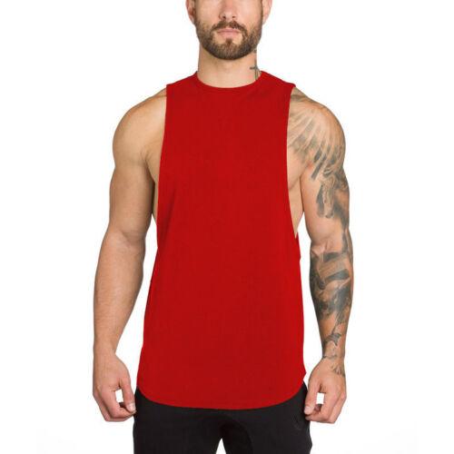 Men Fitness Singlet Tank Top Sleeveless Shirt Cotton Muscle Guys Undershirt Vest