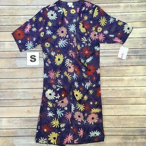 Piccola-Shirley-lularoe-effetto-multicolore-a-fiori-su-viola-Kimono-COVER-Up-Taglie-00-8