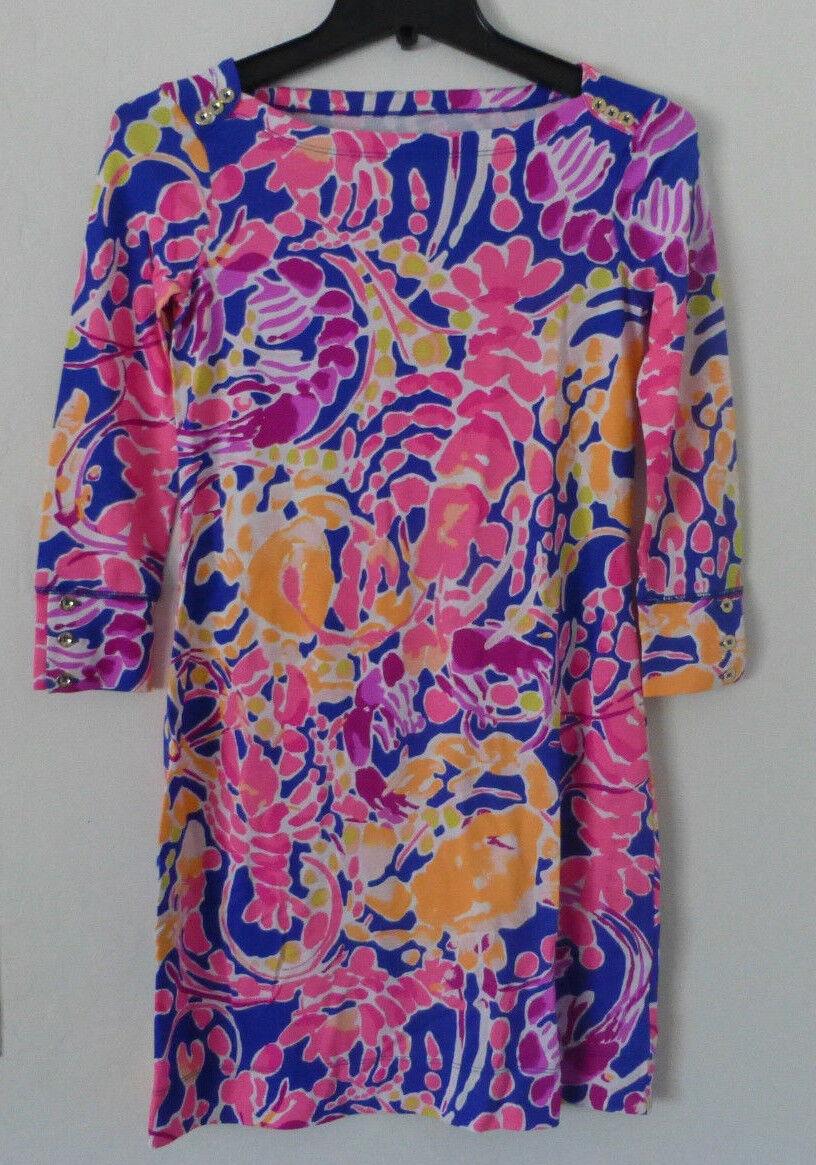 Lilly Pulitzer Sophie Dress Brilliant bluee Catch  Multi Upf 50+ Size XS New