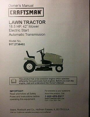 Sears Craftsman DYT4000 Riding Lawn Tractor Owner Parts Manual 56p EBay