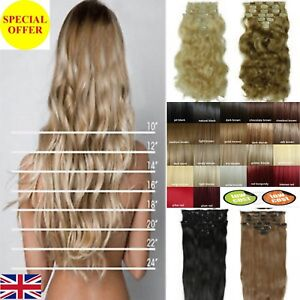 Long-amp-Short-Full-Head-clip-in-Hair-Extensions-Blonde-Black-Brown-Red-Ginger