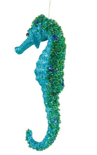 Nautical Coastal Christmas Teal Glittering Sea Horse Seahorse Figurine Statue