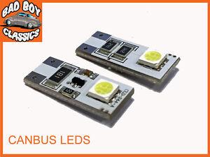 501 T10 W5W Laterali Interno Targa Lampadine LED Canbus x2