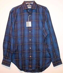 Thomas-Dean-Mens-Cobalt-Blue-Check-Button-Front-Dress-Shirt-NWT-110-Size-S