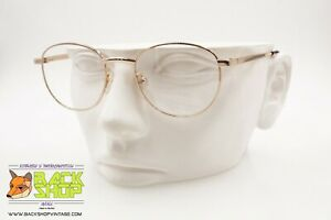 Pin's Made In Italy, Classic Round Circle Eyeglass Frame, Pale Gold, Nos 1990s