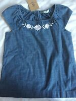 Girls 6 Lands End Neon Chambray Embroidered Top $24 Squareneck