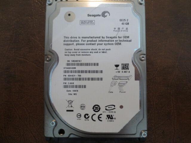 "Seagate ST940814AS 9S1131-030 FW:3.CDD WU 40gb 2.5/"" Sata Hard Drive"