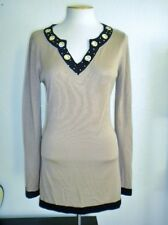 BELLDINI MS SIZE LARGE MOCHA BROWN AND BLACK GROMMET NECKLINE TUNIC SWEATER