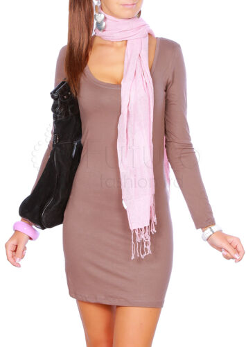 Women/'s Mini Dress Scoop Neck Tunic Long Sleeve Coctail Bodycon Size 8-12 4401