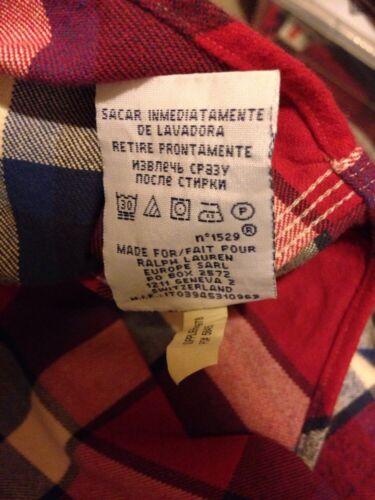 Ralph Lauren Da Uomo Manica Lunga Camicia Check A quadri Rosso Blu e Bianco Medio Rrp £ 115