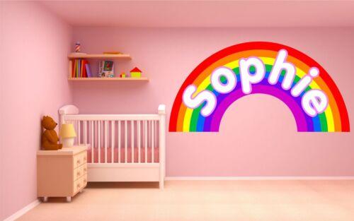 PERSONALISED RAINBOW WALL STICKER children/'s bedroom nursery decal art mural