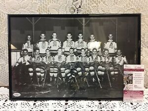 MILT SCHMIDT Signed/Autographed 17x11 Framed Photo JSA COA - Boston Bruins HOF
