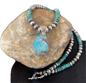 Mens-Navajo-Pearls-Sterling-Silver-Blue-SpiderWeb-Turquoise-Necklace-Pendant-922