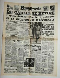 N705-La-Une-Du-Journal-France-soir-22-janvier-1946-De-Gaulle-se-retire-politique