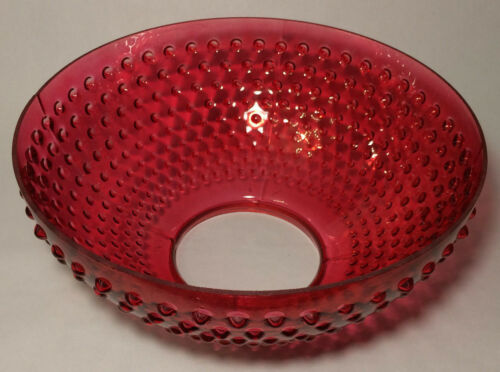 """NEW 14/"""" Cranberry Hobnail Glass Dome Shade For Library /& Table Lamps #DS312"""