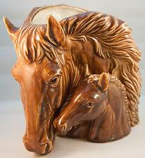 Vintage Napco Art Pottery Glazed Horse Head Planter Vase Brown Mare Foal