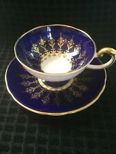 Antique c.1900 Aynsley Royal Blue Ornate Fleur Di Lis Gild,Footed Cup and Saucer