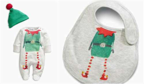 Dribble Bib Girls Boys ⭐ ⭐ Next Christmas Sleepsuit /& Hat Outfit Set Elf Xmas