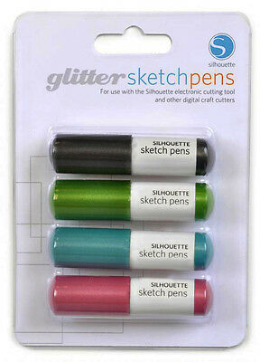 Silhouette GLITTER SKETCH PEN PACK Black, Pink, Aqua, /& Green 4 COLORS