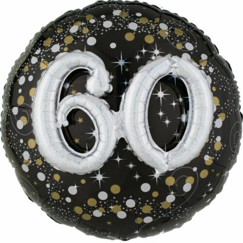 Large 3D Effect 60th Foil Balloon Black Gold /& Silver Holographic Birthday Party