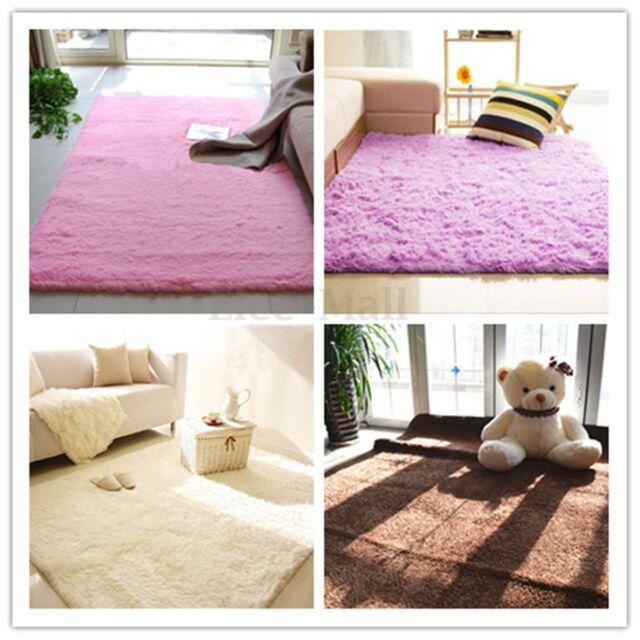 Fluffy Rugs Anti-skid Shaggy Area Rug Home Room Bedroom Carpet Floor ...