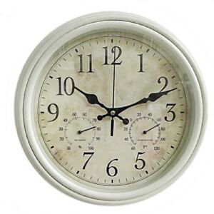 Vintage-Style-Shabby-Chic-Cream-Weather-Station-Wall-Clock-New