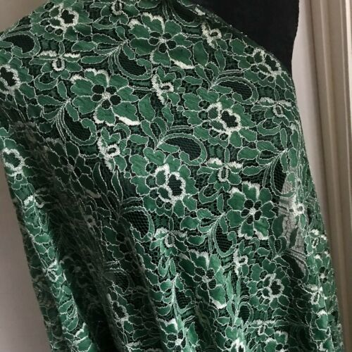 Beautiful Shawl Scarf Cover Wrap Flowers Green Gold Wedding Birthday Gift Lace