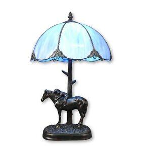 Htdeco-Lampe-Tiffany-bleue-en-verre-Luminaire-de-table-et-de-chevet