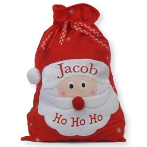 Personalised Santa Sack Christmas Stocking Father Christmas Embroidered Name