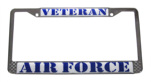 Made in the USA Air Force Veteran License Plate Chrome Metal Tag Frame
