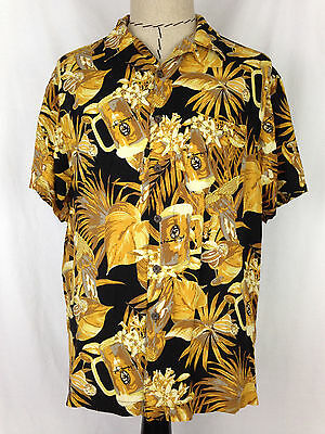 Panama Jack Mens Hawaiian Shirt L Size Floral Beach Short Sleeve 100% Rayon