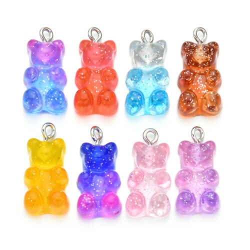 10pcs Candy Bear Cute Resin Charms Pendant DIY Findings Gummy Earrings Keychain