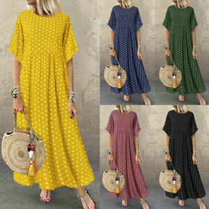 Women-Flared-Short-Sleeve-Summer-T-Shirt-Dress-Polka-Dot-Long-Maxi-Dress-Summer