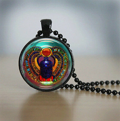 Scarab Necklace Glass Tile Necklace Egyptian Necklace Glass Jewelry Pendant