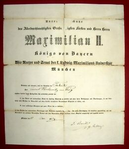 1854-Muenchen-LMU-Techniker-Urkunde-fuer-juedischen-Fabrikanten-e-U-Carl-ARNDTS