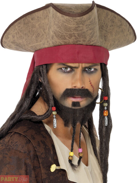 Adults Pirate Hat Mens Ladies Buccaneer Captain Fancy Dress Accessory