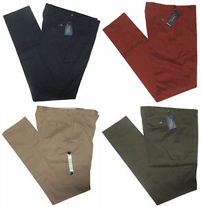 295-Polo-Ralph-Lauren-Mens-Italy-Flat-Front-Navy-Red-Green-Slim-Chino-Pants
