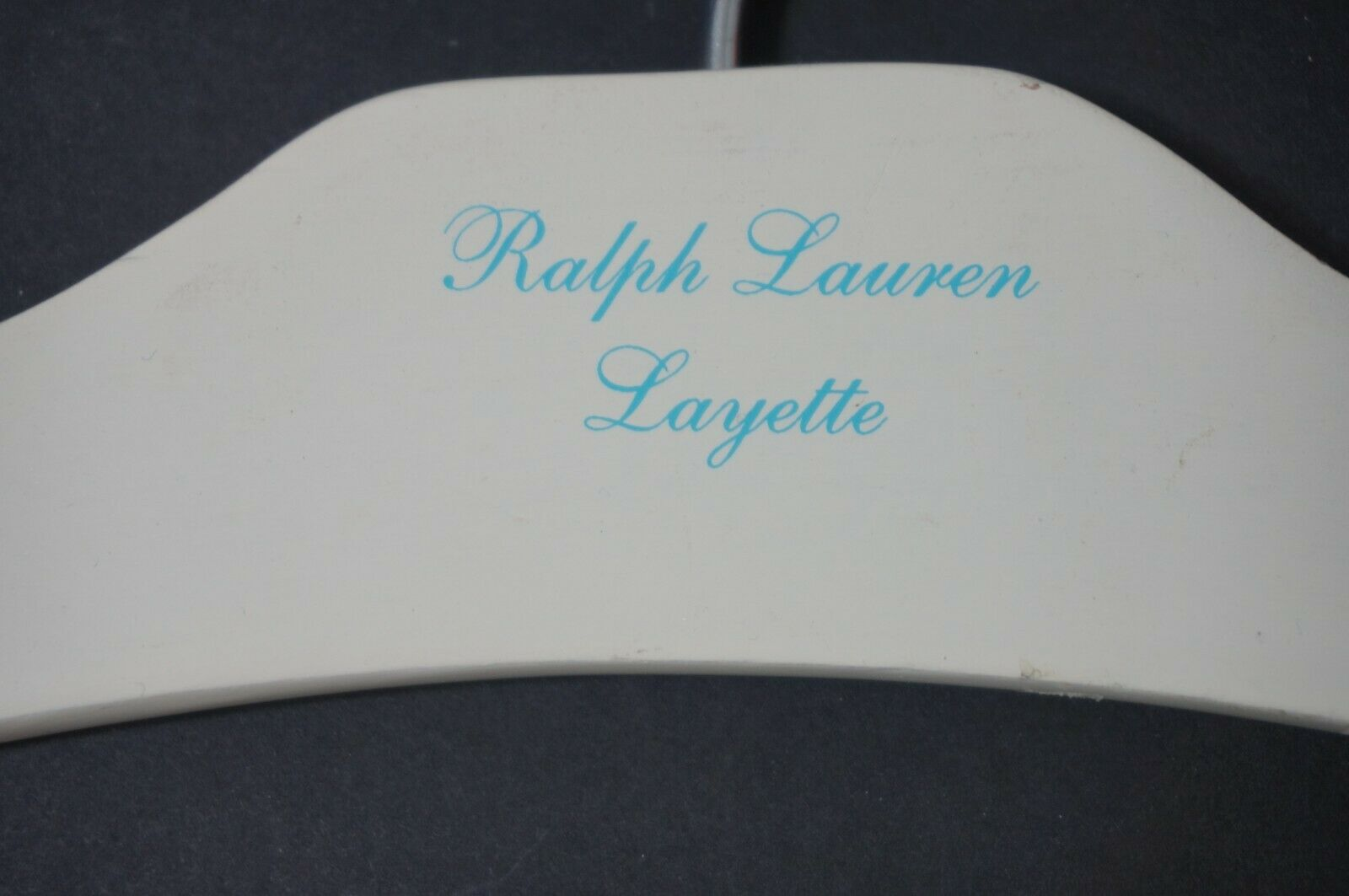 Ralph Lauren Set of 5 Layette Wooden Hangers Cream w bluee Writing