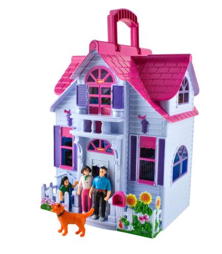 Casa delle bambole 6 stanza mobili personaggi famiglia con cane giocattolo portatile 6079