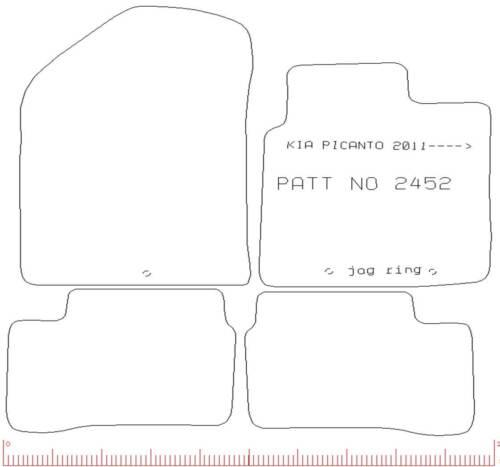 Kia Picanto 3 x Clips sur mesure Voiture Tapis de sol Bordure Bleu Bord 2010 To 2017