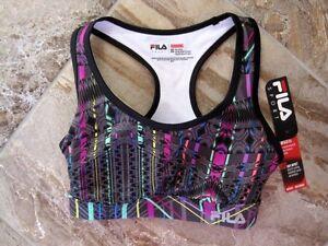 New-34-FILA-Sport-XS-X-Small-Gray-Print-Running-Bra-High-Impact-Wicking-NWT