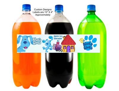 BLUES CLUES PINK BIRTHDAY PARTY FAVORS FULL SIZE WATER BOTTLE LABELS WRAPPERS