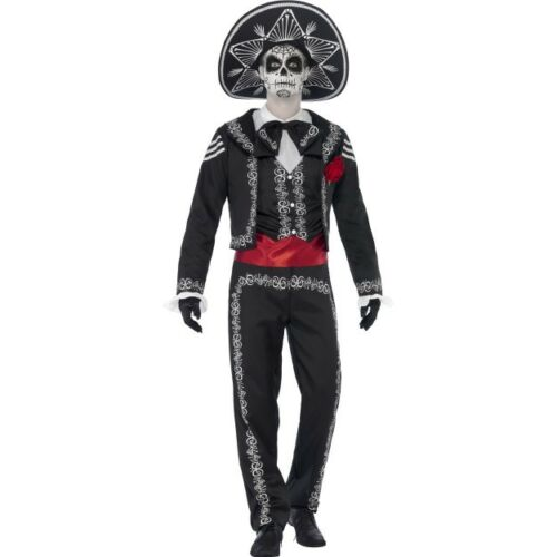 Men/'s Senor Bones Day of the Dead Costume Halloween Fancy Dress Skeleton Outfit
