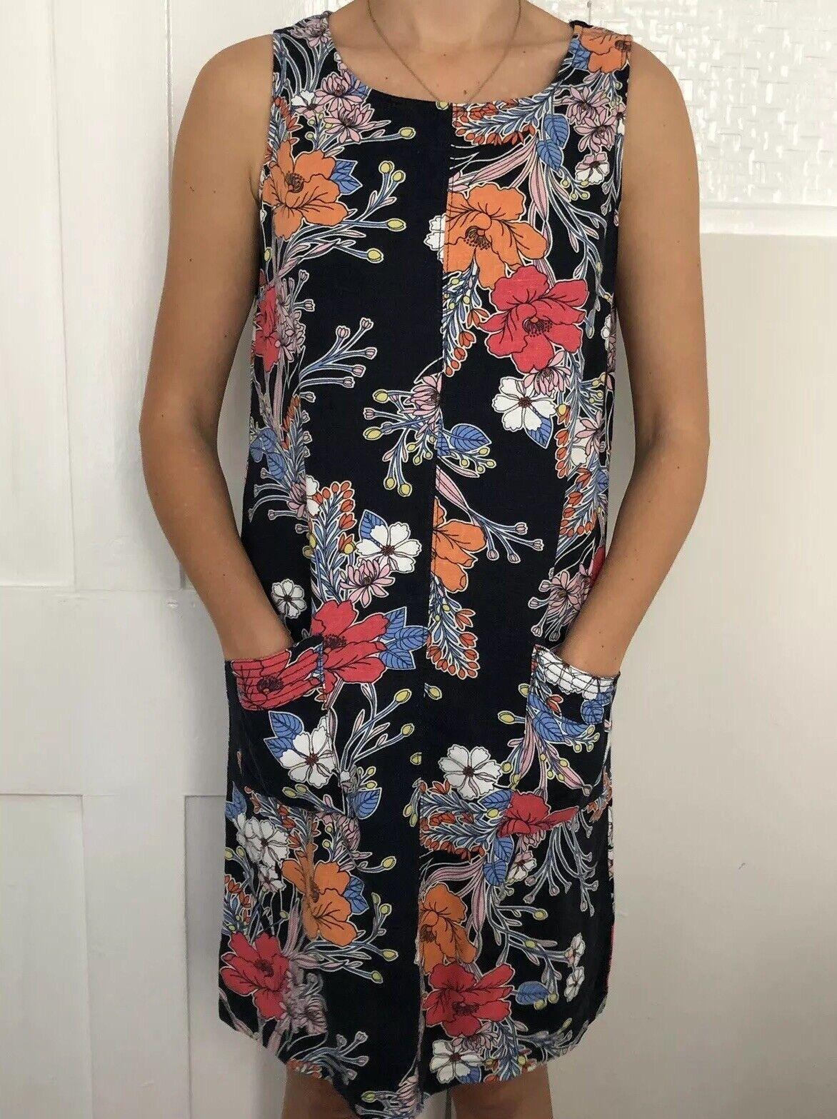 Next Women Dress Size 8 Linen Blend Knee Length Pockets Floral Navy Blue Floral