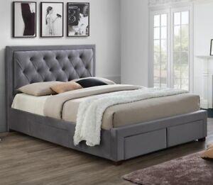 Woodbury-Velvet-Fabric-Bed-with-Storage-Drawers-Black-Velvet-or-Grey-Sizes